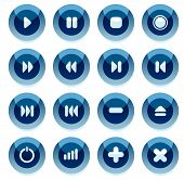 Set of blue vector multimedia buttons with shadow. Easy to edit, any size. More in my gallery.