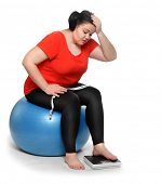 Overweight woman with weighing machine