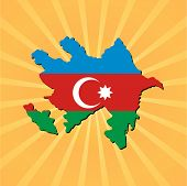 Azerbaijan map flag on sunburst vector illustration