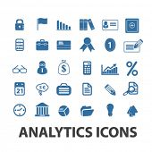 analytics, finance icons set, vector