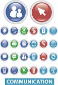 color communication glossy buttons set, vector