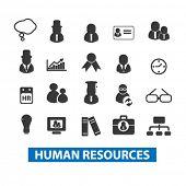 human resources, management icons set, vector
