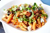 Tomato pasta with beef, mushrooms and blue cheese Bleu d'Auvergne