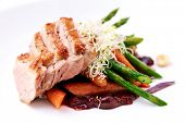 Cherry duck breast, with warm asparagus and baby carrot salad