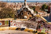 pic of gaudi barcelona  - Barcelona Park Guell of Gaudi tiles mosaic serpentine bench modernism - JPG