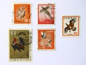 Old Art Stamps from Japan/Nippon (Bird and chicken)