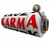 stock photo of karma  - Karma Word Slot Machine Wheels Destiny Fate Good Luck - JPG