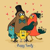 birds happy family