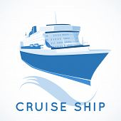 stock photo of passenger ship  - Blue ocean cruise ship label vector illustration - JPG
