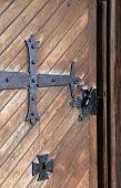 Old weathered wood door
