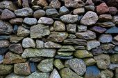 Detail of an old dry-stone wall in Snowdonia National park.
