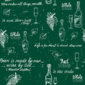 Seamless wine pattern chalkboard