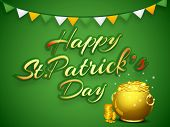 Happy St. Patrick's Day celebrations concept with stylish text and golden pot with full of coins on green background.