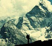 Climber in Himalayan mountain,Ama Dablan,Nepal