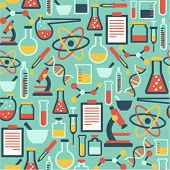 picture of beaker  - seamless pattern with flat science icons - JPG
