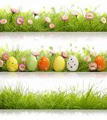 Collection of easter eggs with grass