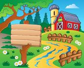 Farm theme with red barn 4 - eps10 vector illustration.