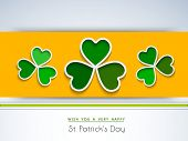 Happy St. Patrick's Day celebrations flyer, banner or poster design with beautiful green Irish lucky