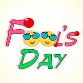 Happy Fool's Day funky concept stylish text and funny faces.