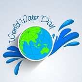World water day sticker, tag or label with globe and stylish text on blue water splash background.