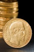Twenty French Francs gold coins