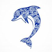 stock photo of dolphins  - Dolphin symbol icon isolated on white vector illustration - JPG