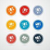 Vector 10% off, 20% off, 30% off, 40% off, 50% off, 60% off, 70% off, 80% off, 90% off, Stickers, La