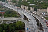 Vehicular Traffic On Newly Built Roundabout Ring Road Around Saint-petersburg.