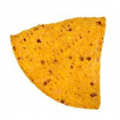 single mexican  chip nacho close up macro  isolated on background