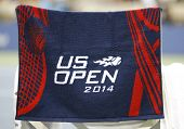 US Open 2014 official towel on player chair at the Arthur Ashe Stadium