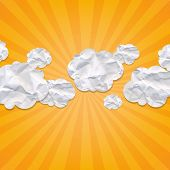 Sunburst Backgrounds With Clouds, With Gradient Mesh, Vector Illustration