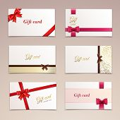 image of ribbon bow  - Gift cardboard paper cards set with red bows and ribbons vector illustration - JPG