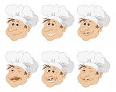 Set cartoon heads chef in a toque caps