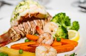 picture of lobster tail  - Gourmet Dinner of Lobster Tail Shrimp and Broccoli - JPG