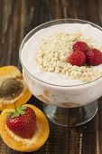foto of shortbread  - Cream cheese with strawberries and apricots shortbread  - JPG