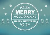 Retro Christmas Card Design With Cyan And White Background