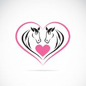Vector image of two horses on a heart shape