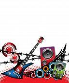 Electric guitar and loudspeakers