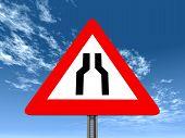 Warning Sign Road Narrows On Both Sides