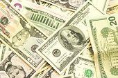 picture of twenty dollars  - banknotes one five ten twenty fifty and one hundrid dollar closeup - JPG