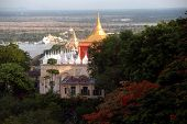 View Of Pagoda And Ayeyarwady River From Sagaing Hill,sagaing Division,myanmar.