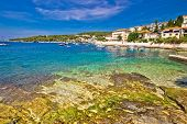 Turquoise Stone Beach On Hvar Island