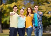 friendship, summer vacation, nature and people concept - group of smiling teenagers pointing finger