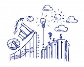 Background conceptual image with business sketches on white background