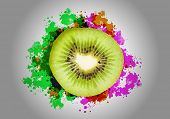Half of fresh kiwi and sketches at background