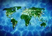 Conceptual background image of world map and connection lines