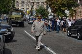 KIEV, UKRAINE - AUG 24, 2014.Ukrainian police during President Poroshenko Victory parade in downtown