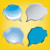 Dialog Speech Bubbles Icons On Yellow Background
