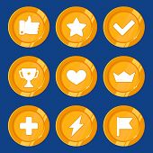 image of prize  - Vector cartoon gamification badges and golden coins  - JPG