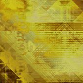 art abstract colorful watercolor background with geometric pattern in gold, yellow, olive and brown